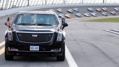 """Photo of Блиндираниот """"ѕвер"""" на Трамп се појави на Daytona 500"""